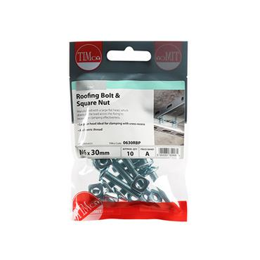 Timco Roofing Gutter Bolts & Square Nuts - Zinc M6 x 30mm 10 Pack | 0630RBP
