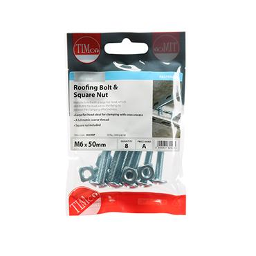 Timco Roofing Gutter Bolts & Square Nuts - Zinc M6 x 50mm 8 Pack | 0650RBP