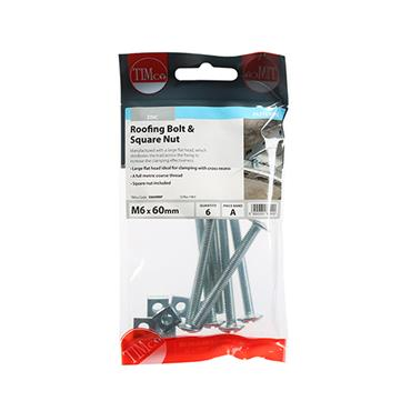 Timco Roofing Gutter Bolts & Square Nuts - Zinc M6 x 60mm 6 Pack | 0660RBP