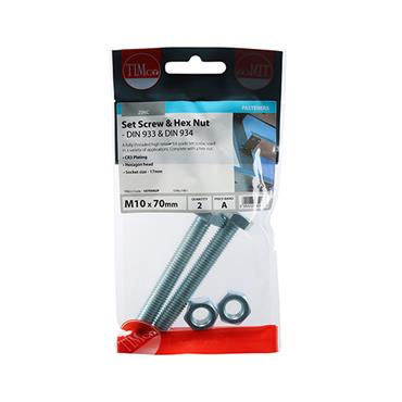 Timco Hex Head Bolts & Hex Nuts - Grade 8.8 - Zinc M10 x 70mm 2 Pack | 1070SNZP