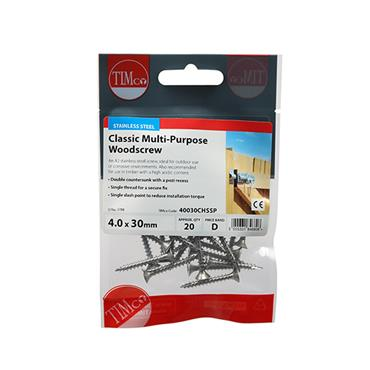 Timco PZ Stainless Steel Screws 4.0 x 30mm 20 Pack | 40030CHSSP