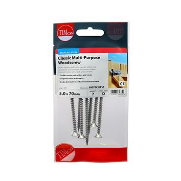Timco PZ Stainless Steel Screw 5.0 x 70mm 7 Pack | 50070CHSSP