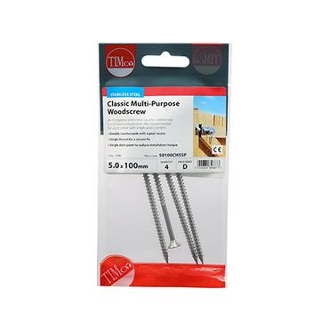 Timco PZ Stainless Steel Screws 5.0 x 100mm 4 Pack | 50100CHSSP
