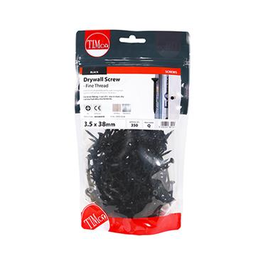 Timco Drywall Screws - Fine Thread - PH - Bugle - Black 3.5 x 38mm 350 Pack | 00038DRYB