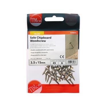 Timco PZ Woodscrews 3.5 x 15mm 45 Pack | 35015CHYP