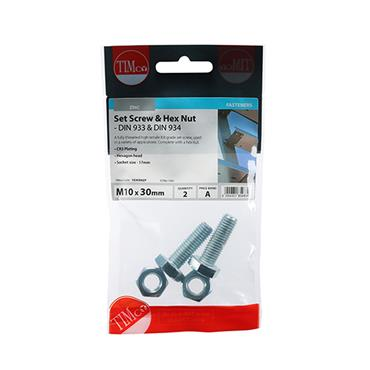Timco Hex Head Bolts & Hex Nuts - Grade 8.8 - Zinc M10 x 30mm 2 Pack | 1030SNZP