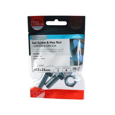 Timco Hex Head Bolts & & Hex Nuts - Grade 8.8 - Zinc M12 x 25mm 2 Pack | 1225SNZP