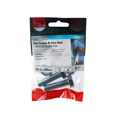 Timco Hex Head Bolts & Hex Nuts - Grade 8.8 - Zinc M12 x 40mm 2 Pack | 1240SNZP