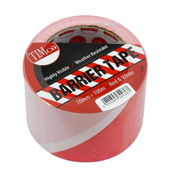 TIMCO 70MM RED/WHITE BARRIER TAPE 100M