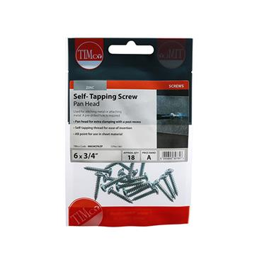 "Timco Self-Tapping Screws - PZ - Pan - Zinc 6 x 3/4"" 18 Pack 