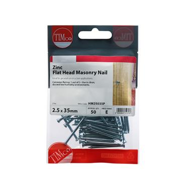 Timco Masonry Steel Nails 2.5 x 35mm 50 Pack | HM25035P