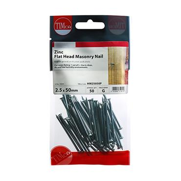 Timco Masonry Steel Nails 2.5 x 50mm  50 Pack | HM25050P