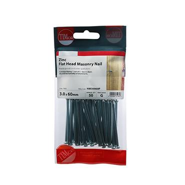 Timco Masonry Steel Nails 3.0 x 60mm 50 Pack | HM30060P