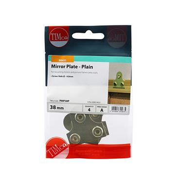 Timco 38mm Plain Brass Mirror Plates 4 Pack | PMP38P