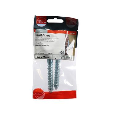 Timco Coach Screws - Hex - Zinc 12.0 x 75mm 2 Pack | 1275CSCP