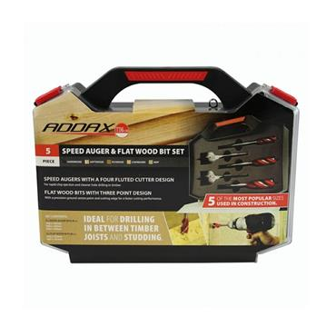 Addax Carpenter's Speed Auger & Flat Wood Bit Set 5 Piece | CKIT