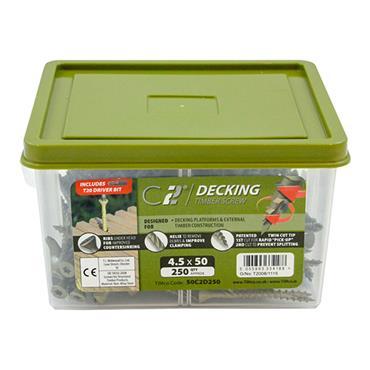 Timco 4.5 x 50mm C2 Decking Timber Screws TX20  Green 250 Pack | 50C2D250
