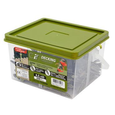 Timco 4.5 x 65mm C2 Decking Timber Screws TX20  Green 250 Pack | 65C2D250