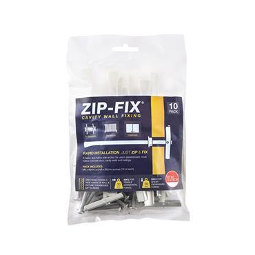 Zip-Fix Cavity Wall Fixings - Zinc M6 10 Pack | ZIP6