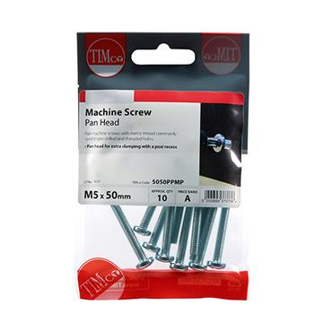 Machine Screws - PZ - Pan - Zinc  M5 x 50mm 10 Pack | 5050PPMP