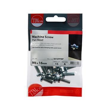 Machine Screws - PZ - Pan - Zinc M6 x 16mm 15 Pack | 6016PPMP