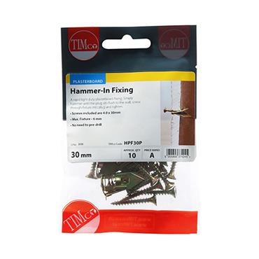 Timco 4 x 30mm Hammer In Plasterboard Fixings 10 Pack | HPF30P