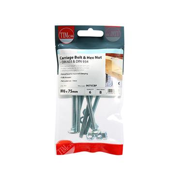 Timco Carriage Cup Head Bolts & Hex Nuts - Zinc M6 x 75mm 6 Pack | 0675CBP