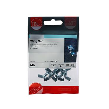 Timco Wing Nuts - Zinc M6 6 Pack | NW6ZP