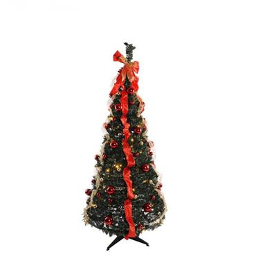 Jingles Pre-Lit Traditional Holly Dressed Pop-Up Tree - 6ft