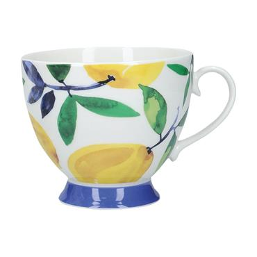 KitchenCraft China Lemon Dream 400ml Footed Mug   KCMFTD157
