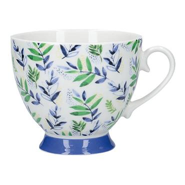 KitchenCraft China Leafy Lemon 400ml Footed Mug | KCMFTD158