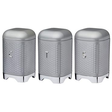 KitchenCraft Lovello Tea Coffee and Sugar Storage Canisters in Gift Box - Shadow Grey | LOVTCSSETGRY