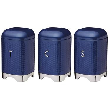 KitchenCraft Lovello Tea Coffee and Sugar Storage Canisters in Gift Box - Midnight Navy | LOVTCSSETB