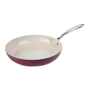 28CM HERITAGE RED CERAMIC FRYING PAN