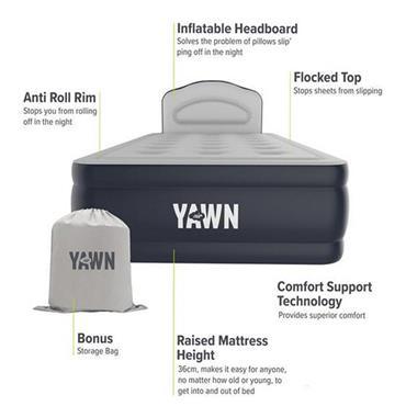 Yawn Air Inflatable Single Bed - Dark Grey | YAMHS2