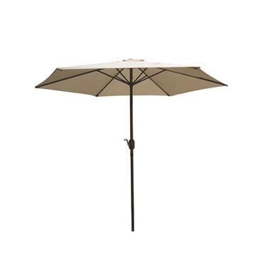 Aluminium Wind Up Garden Parasol Umbrella 2.7m Crank & Tilt - Taupe
