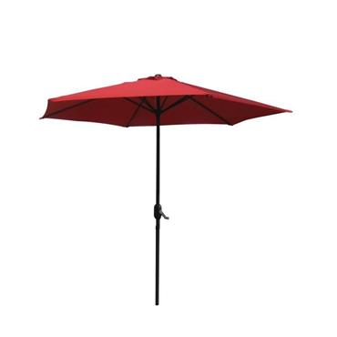 Aluminium Wind Up Garden Parasol 2.7m Crank & Tilt - Red