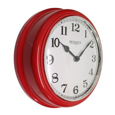 """Dunlevy 10"""" Deep Plastic Wall Clock - Red   CL2001R"""