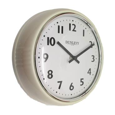 "DUNLEVY 10"" WALL CLOCK CREAM"
