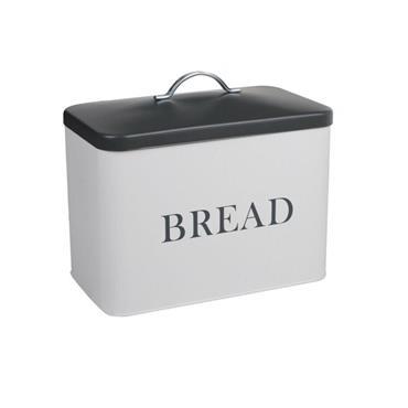 Lift Lid Bread Bin 34cm - White with Grey Lid   TE1006