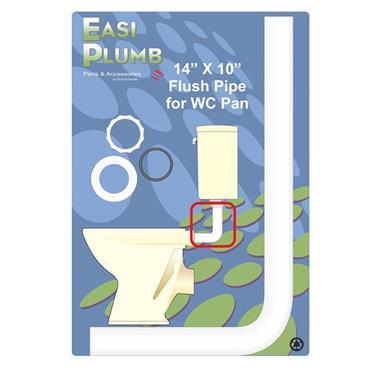 "Easi Plumb 14"" x 10"" White Flushpipe for WC Pan (Toilet)   EP1410FP"