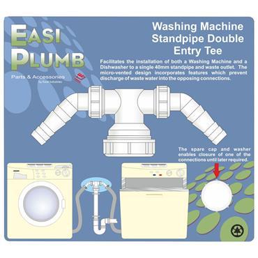 Easi Plumb Standpipe Double Entry Tee for Washing Machine / Dishwasher | EPWMSPT