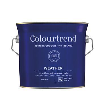 Colourtrend 3 Litre Weather Masonry Paint - White   M01104