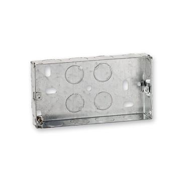 Powermaster 2 Gang 25mm Flush Metal Double Socket Box | 1523-20