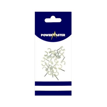 Powermaster 5mm Cable Clips 20 Pack - White | 1369-12