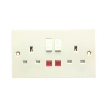 Powermaster 2 Gang Double Switched Socket with Neon | 1372-24