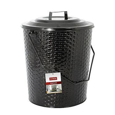 De Vielle Black Metal Basket Weave Coal Tub and Lid - Black | DEF977961