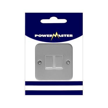 Powermaster 2 Gang 2 Way Single Metal Switch and Box |