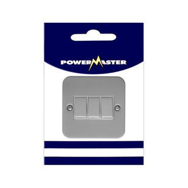 Powermaster 3 Gang 2 Way Single Metal Switch and Box | 1798-10