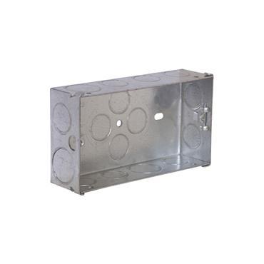 Powermaster 2 Gang 35mm Flush Metal Double Socket Box | 1799-04